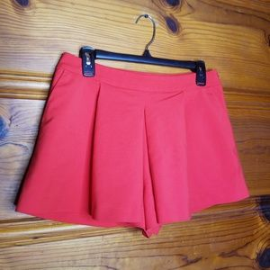 Zara Woman Coral Box Pleat Skort Short Size Medium